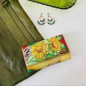 Anuschka sunflower safari hand painted flap wallet